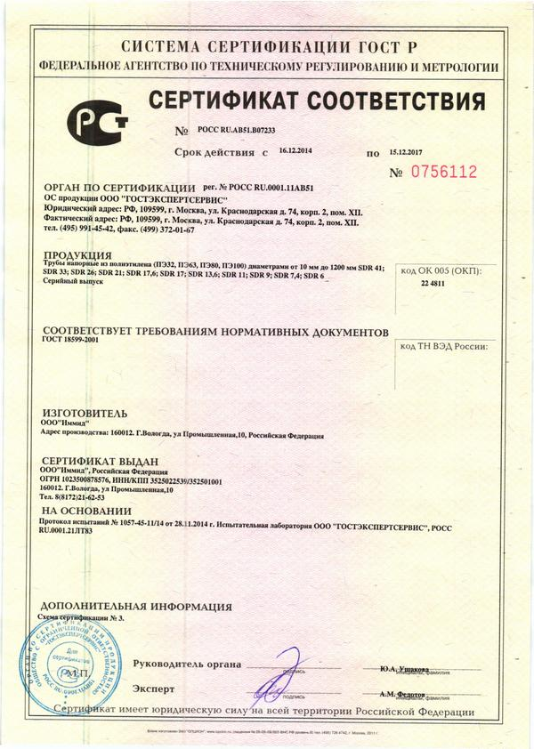 Certificate of conformity. Pressure pipes made of polyethylene